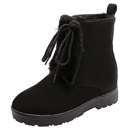 WUSIKY Stiefeletten Damen Bootsschuhe Boots Geschenk für Frauen Wollstiefel Süße runde Spitze Schnürstiefeletten mit Plateauabschluss