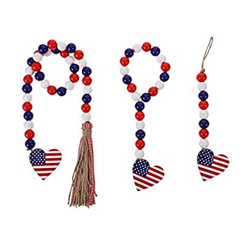 BESTOYARD Wood Bead Garland Beaded Tassels Patriotic American Independence Day 4th of July Ornaments for Home Decor 3pcs