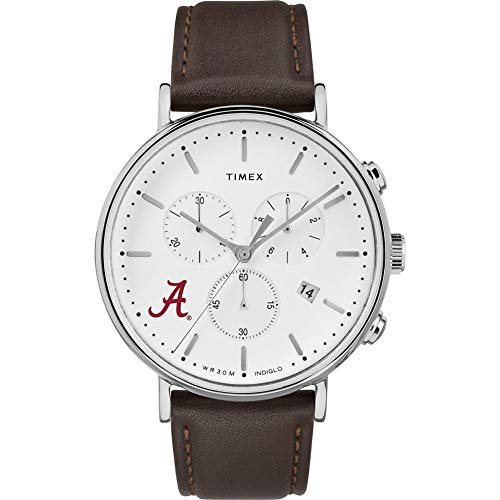 MensAlabama Crimson Tide Bama Watch Chronograph Leather Band Watch