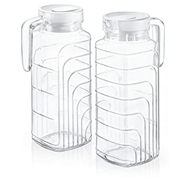 Klikel Clyde Set of 2 Jugs Drink Pitcher With Lid For Water, Juice, Ice Tea, Homemade Beverages With Handle, 38oz