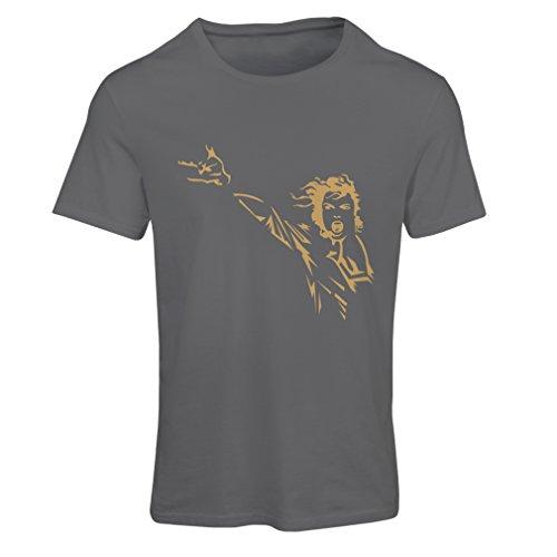lepni.me Camiseta Mujer King of Pop, me Encanta M J - 80s / 90s, Camisa de Fiesta Musical (Small Grafito Oro)