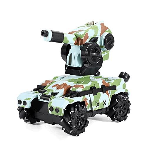 CHENBAI Carro tanque eléctrico con control remoto para niños, carro modelo de batalla de 2.4G, puede derivar y lanzar una bomba de agua Carro blindado de juguete tanque, carro de juguete para niños co