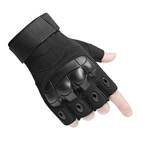 Huntvp Taktische Handschuhe Militär Einsatzhandschuhe Atmungsaktiv Fahrrad Handschuhe Motorradhandschuhe für Softair Paintball Outdoor Wandern Klettern Radsport, Halbfinger Schwarz M