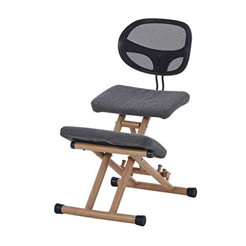 BH Sillas de Rodillas Muebles ergonómicos de Silla de Postura de Rodillas para Oficina con Respaldo `` Altura Ajustable '' Madera (Color: Gris)