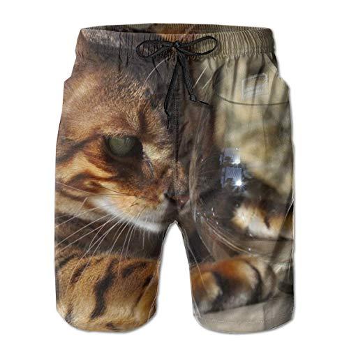 LREFON Pantalones Cortos de Playa de Secado rápido para Hombres Bebida de Gato Vino Forro de Malla Surf Bañadores con Tasche 2XL