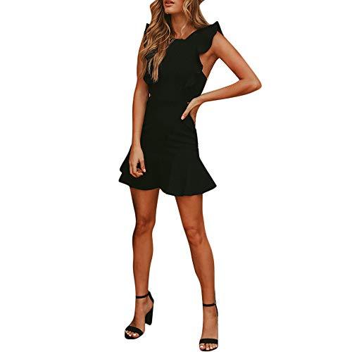 Goosuny Damen Sommerkleid Sexy Rückenfreies Kleid In Wickeloptik Damenmode Ärmelloses Kurze Kleider Wickelkleid Partykleider Frauen Schicke Sommerkleidung Damenkleider