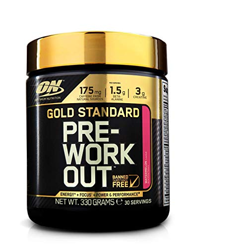 Optimum Nutrition ON Gold Standard Pre Workout en Polvo con Creatina Monohidrato, Beta Alanina, Cafeína, Citrulina y Vitamina B, Sandía, 30 Porciones, 330 gr