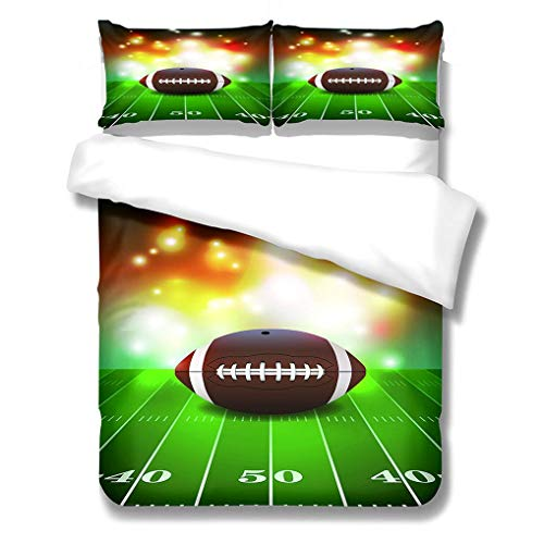 WENYA 3D Basketball Rugby Bedding set Green Yellow Red Black Orange Duvet Cover and Pillowcase Microfiber Boy Child Adolescent Quilt Cover With Zipper (Style 3,Single 135x200 cm)