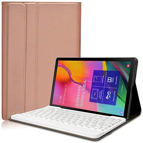 KILISON Tastiera Custodia per Samsung Galaxy Tab A 10.1 2019 Cover, Slim Pelle PU Case [QWERTY Layout] con Rimovibile Wireless Keyboard Tastiera per Samsung Galaxy Tab A 10.1 T515 T510, Oro rosa