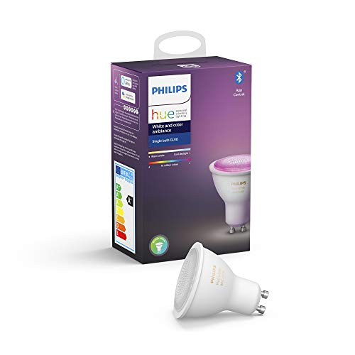 Philips Hue Bombilla Inteligente LED GU10, con Bluetooth, Luz Blanca y Color, Compatible con Alexa y Google Home