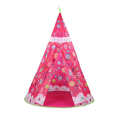 Soapow Niños Playhouse Indian Caramelos Teepee portátil plegable Baby Game Tent con bolsa de transporte