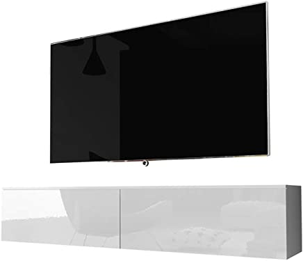 kane fernsehschrank tv lowboard hangend in weiss hochglanz 140cm
