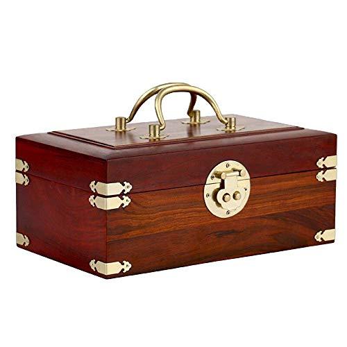 CQS Antiguo de caoba caja de joyería de cobre de la hebilla de doble orificio de bloqueo de la caja cosmética de madera del estilo chino del cofre del tesoro (Color: Rojo, Tamaño: 25 x 15 x 10