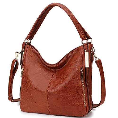 Hobo Bag for Women,RAVUO Faux Leather Shoulder Handbags Totes Top Handle Crossbody Satchel Bag Ladies Purses Brown