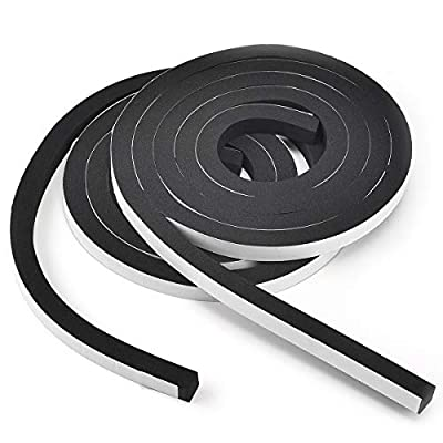 TamBee Weather Stripping Foam Tape 1/2 Inch Wide X 1/2 Inch Thick,High Density Foam Strip Self Adhesive Weatherstrip Insulation Foam Rubber Seal Strip 13 Ft(2 Rolls of 6.5 Ft Long Each)