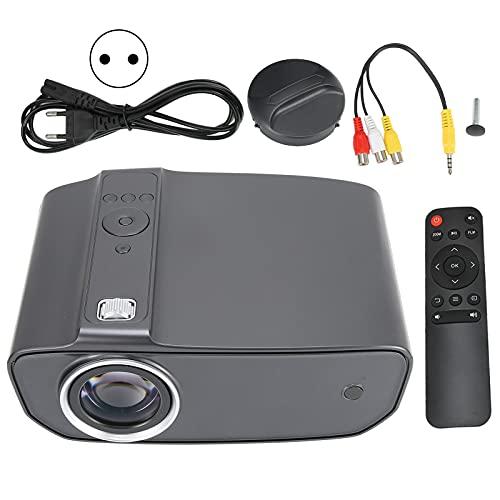 Lazmin112 Mini proyector Full HD 1080P, LED portátil para Oficina en casa Proyección de películas al Aire Libre Compatible con AV/VGA/USB/HDMI/Laptop/Smartphone y Control Remoto, Gris Perla(EU)
