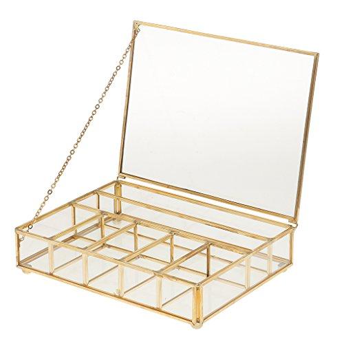 LOVIVER Glasbox Gold Mini Glas Terrarium Box Blumentopf Sukkulente Pflanzen Pflanzgefäß Haus Dekor - 20 x 15 x 5 cm