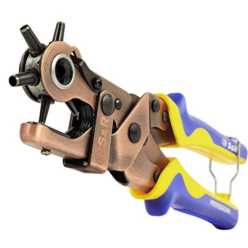 S&R Fustellatrice Buca Cinture Fori Tondi per Cuoio, Pelle, Tela, Tessuti. 6 Fustelle di 2/2,5/3/3,5/4/4,5 mm. Pinza Professionale di Alta Qualità