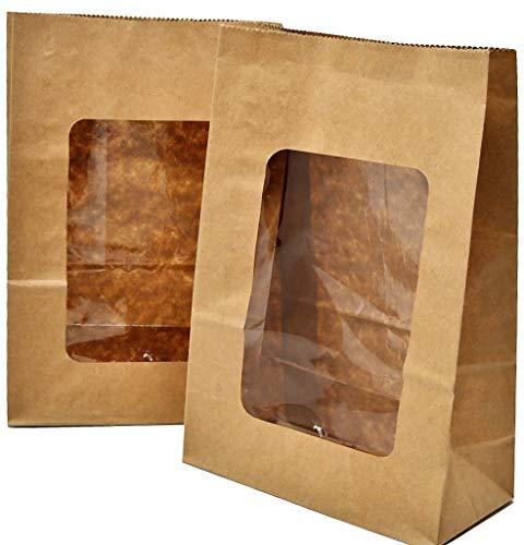 Bakery Direct - Bolsas papel kraft ventana PLA totalmente