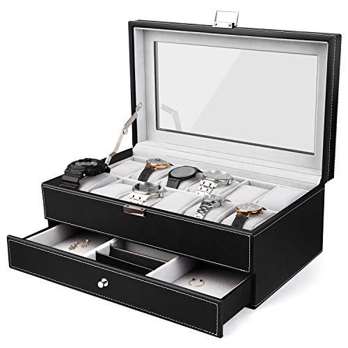 amzdeal Schmuckkasten 12 Gitter Uhrenbox Doppelschicht-Design Schmuckbox Diversifiziertes Design 33x19.5x13.2cm Uhrenkoffer PU-Leder Feierlicher und elegant