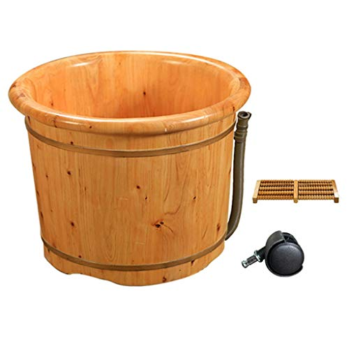 YXCKG Foot Massage Spa, Wood Foot Bucket for Soaking Feet, Foot Bath Barrel Gravity Drainage,Rotating Wheel,Household Wash Basin, Best Gifts for Parents (Color : Type B, Size : Without)