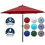 Blissun 9' Outdoor Aluminum Patio Umbrella, Striped Patio Umbrella, Market Striped Umbrella with Push Button Tilt and Crank (Red)