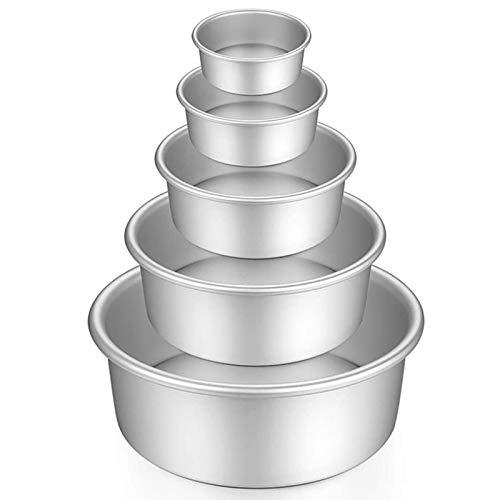 Gfhrisyty Molde Redondo de Aluminio para Pasteles, 5 Piezas, Utensilios para Hornear con Base ExtraíBle para Pasteles, Fiestas, 5 Pulgadas, 6 Pulgadas, 7 Pulgadas, 8 Pulgadas, 9 Pulgadas