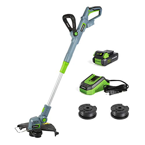 WORKPRO 20V Cordless String Trimmer / Edger, 12-inch, with 2Ah Lithium-Ion Battery, 1 Hour Quick Charger, 16.4ft Trimmer Line Included