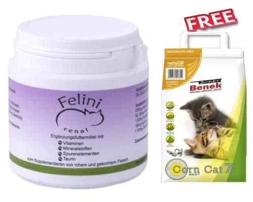 Felini Renal Cat Food Supplement 2 x 125g for BARF Diets Food for Cats No Additives Phosphorus-free Hypoallergenic & Fillers Free + Super Benek Corn Cat Natural Clumping Litter