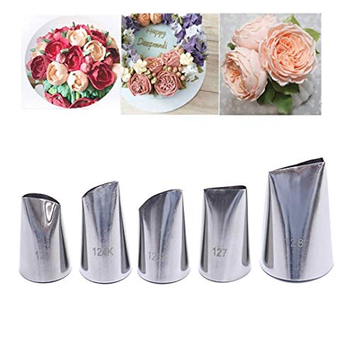 FantasyDay 5 piece Stainless Steel Rose Flower Piping Tips Piping Nozzles Cake Decorating Supplies Cookies Cupcake Icing Decorating Supplies Decorating Kits Frosting Icing Tips Baking Set Tools #4