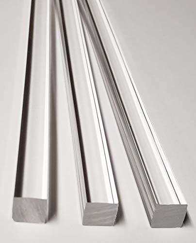 "3 Pcs 1 2"" x 1 2  x 12"" Long Square Clear Acrylic PLEXIGLASS Lucite Plastic Rod - .50  - 12.7mm x 12.7mm x 304.8mm"