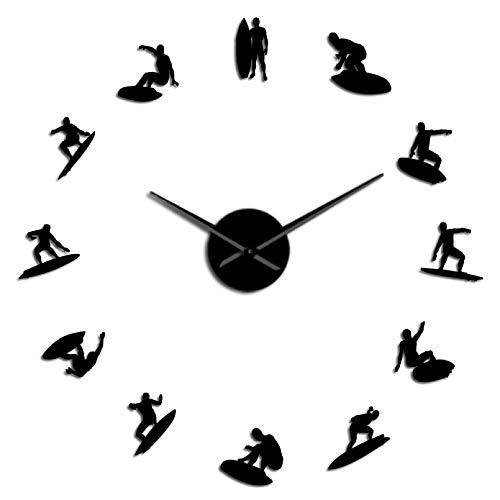 YQMJLF Reloj Pared DIY 3D Grande Reloj de Pared 3D DIY Autoadhesivo con Perfil de surfistas Regalo él Amante de los Deportes Extremos Reloj con Efecto de Espejo Surf en el océano Reloj Negro