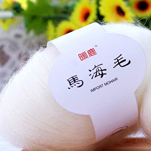 Hacloser 25g/Skein Soft Mohair Yarn for Knitting, Cashmere Wool Yarn DIY Shawl Scarf Crochet Thread Supplies (01#)