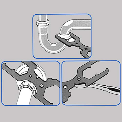 Bdmetals 3 Way Sink Strainer Wrench, Sink Nut Installer Water Pipe Wrench Fits 1-3/4 Inch,2 Inch and 2-1/2 Inch Nuts, Multifunctional Heavy Duty Stainless Steel Water Pipe Tool