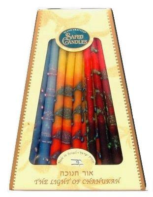 Safed Premium Fancy Chanukah Candles - Multicolor Dripless Hanukkah Candles