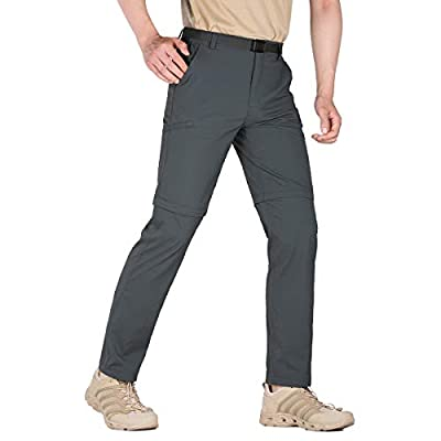 FREE SOLDIER Men's Outdoor Cargo Convertible Hiking Pants Lightweight Waterproof Quick Dry Tactical Pants Nylon Spandex (Dark Gray-Convertible 32W x 30L)