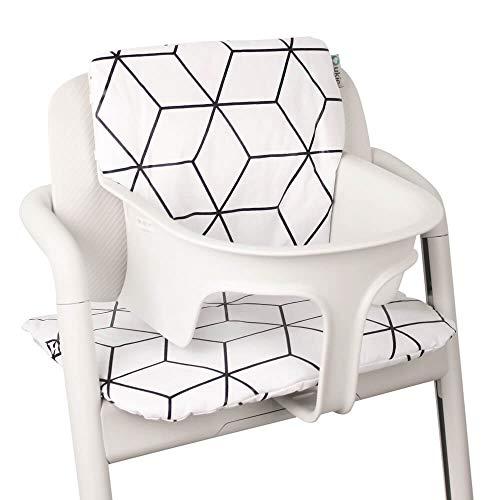 Baby Sitzkissen Sitzverkleinerer für Cybex Lemo Hochstuhl von UKJE Beschichtet Weiß Geometrisch Praktisch und dick gepolstert Maschinenwaschbar 2-teilig Öko-Tex Baumwolle