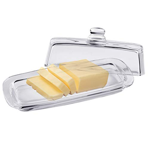 Bezrat Lead-Free Crystal Covered Modern French Butter Dish with Handle and Lid