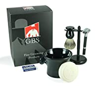 5 Piece Shaving Set - Comes with Gift Box -- Rubber Coated Butterfly Matte Razor, Pure Badger Brush, Ceramic Shave Mug, GBS Ocean Driftwood Soap and Matte Heavy Duty Stand with 10 Pack of Blades -- Makes a Great Gift for Husband , Father's Day, Holiday Boss or Dad by GBS