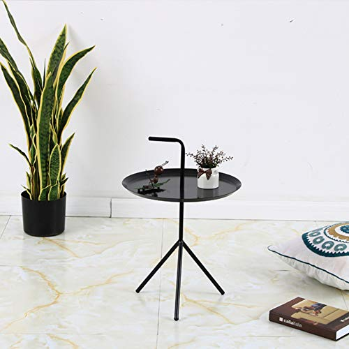 Yxp Tray Metal Side Table Small Night Stand with Handle Anti-Rust And Waterproof Outdoor & Indoor Snack Table Coffee Table for Office, Patio And Living Room,Black