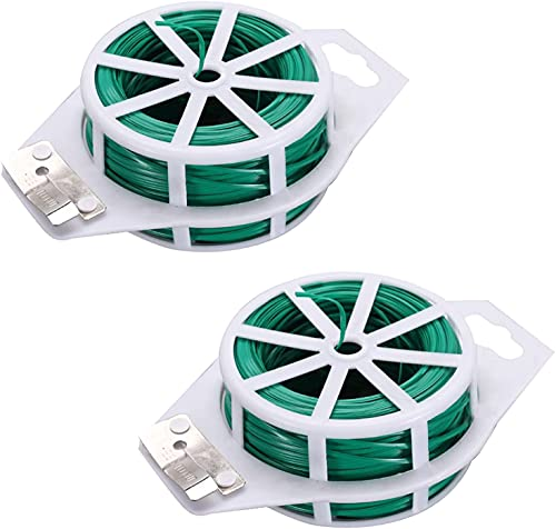 ZPZY Plant Fixed Rope 328ft 100m Twist Ties Plant Twist Tie with Cutter,Plant Ties for Garden Sticks for Plants Support (2 pcs)