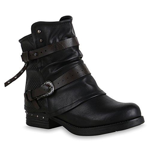 Damen Schuhe Stiefeletten Gefütterte Biker Boots Nieten Schnallen 153619 Schwarz Avelar 41 Flandell