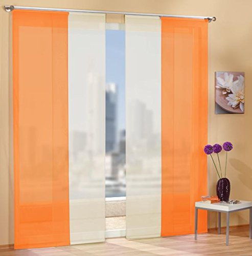 Gardinen Set, 2 x Flächenvorhang Schiebegardine mit Zubehör, Orange, 2 x Flächenvorhang Schiebegardine mit...