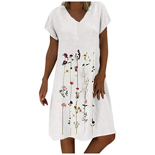 Vestido de verano de lino para mujer con cuello en V, de un solo color, línea A, largo hasta la rodilla, estilo bohemio Blanco XXXXXL