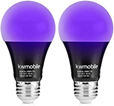 kwmobile Black Light Bulbs E26 - LED Ultraviolet Blacklight UV Bulb - Glow in the Dark Ultra Violet Neon Fluorescent Party Lights - Pack of 2, 7W