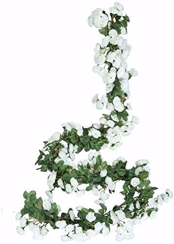 Ruiuzioong Ghirlanda di fiori finti a forma di rosa rampicante, 4 pezzi, fiori artificiali, da appendere a forma di rosa e edera, per matrimoni, arco, sfondo da giardino (bianca)