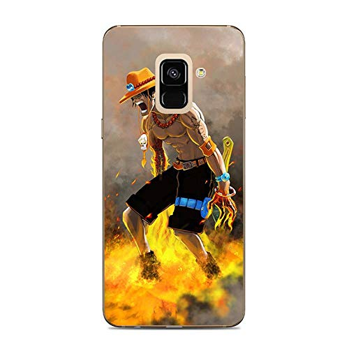 Be-better Case for Samsung Galaxy A5 2018/A8 2018, One-Piece Anime-Luffy 8 Ultra Clear Coque Thin Soft TPU Rubber Anti-Slip Phone Cover