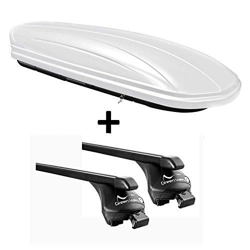 VDP Skibox weiß MAA 460W 460 Liter abschließbar + Relingträger Dachgepäckträger für aufliegende Reling im Set für Ford Focus III Kombi ab 2011