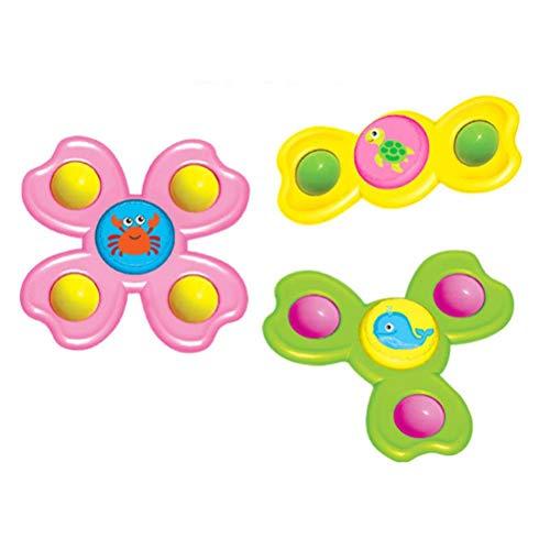 Dan&Dre 3 piezas de ventosa giratorio de la parte superior, juguete para bebé con ventosa de mesa de animales lindos juguetes para niños