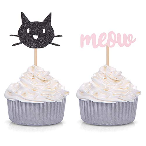 24 Counts Black Cat and Meow Cupcake Toppers Girl's Birthday/Cat Lover/Kitten Party Decorations